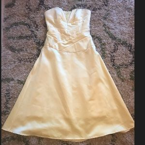 David's Bridal short strapless yellow satin dress